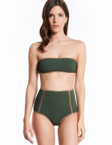 HIGH WAIST BANDEAU MONTAUK WITH GOLD LUREX - Swimwear - Tooshie