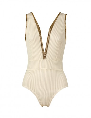 BODY STRIPY IVORY WITH GOLD LUREX - Lingerie FRONT - Tooshie