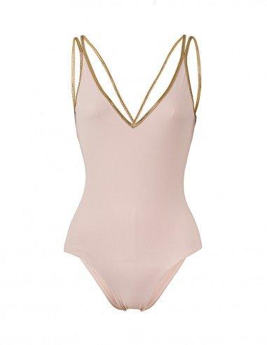 SWIMSUIT LIGHT PINK WITH GOLD XSWIM -FRONT Swimwear - Tooshie