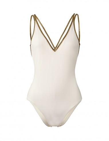 SWIMSUIT WHITE WITH GOLD XSWIM -FRONT Swimwear - Tooshie