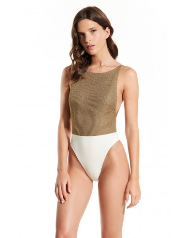 SWIMSUIT BODY KNIT GOLD LUREX - Swimwear - Tooshie