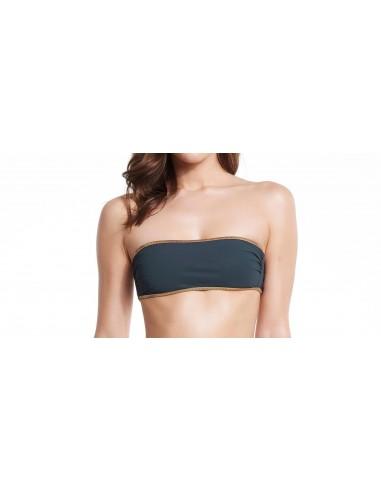 Bikini bandeau Navy Black - top - Swimwear - Tooshie
