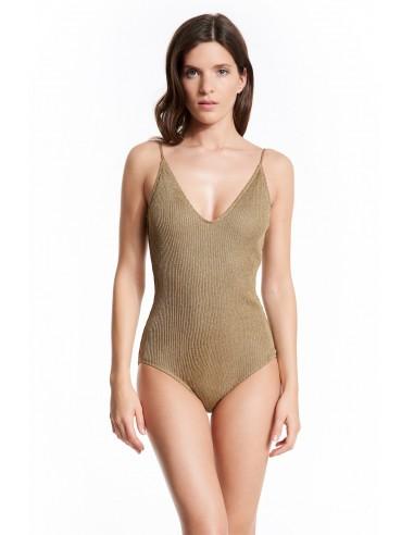SWIMSUIT KNIT GOLD ISABELLA - Swimwear - Tooshie