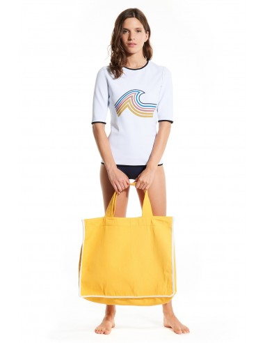 BEACH BAG COTTON Yellow TERRY WHITE HAMPTON - Beachwear - Tooshie